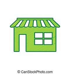 Store sign illustration. Vector. Lemon scribble icon on white background. Isolated
