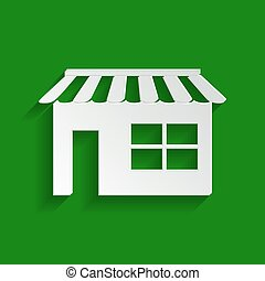 Store sign illustration. Vector. Paper whitish icon with soft shadow on green background.