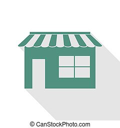 Store sign illustration. Veridian icon with flat style shadow path.