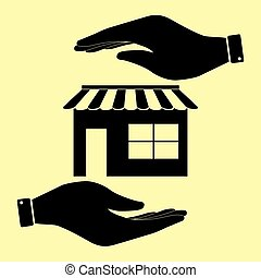 Save or protect symbol by hands. - Store sign. Save or...