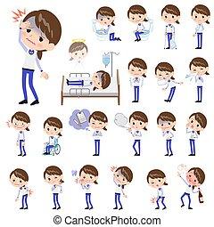 Store staff Blue uniform women_sickness