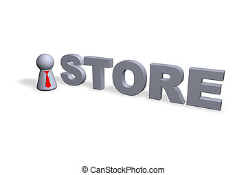 store text in 3d and play figure with red tie