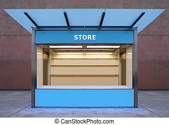 store - empty news stall on street of city at night time