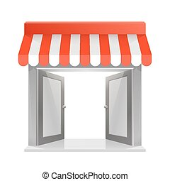 Store striped awning 3d art. Vector illustration