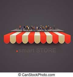 Store striped awning with people crowd. Vector