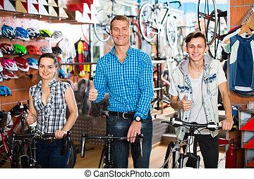 store., syn, rower, rodzina, nastolatek