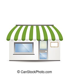Storefront Awning in green - vector illustration of...