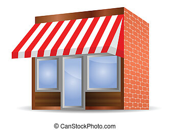 Storefront Awning in red - vector illustration of Storefront...