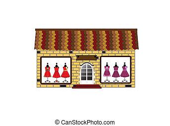 storefront., butik, -, mały, okno, wizerunki, stroje