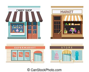 Storefront. Set of different colorful shops market, candy shop, supermarket, store. Vector, illustration in flat style isolated on white background EPS10