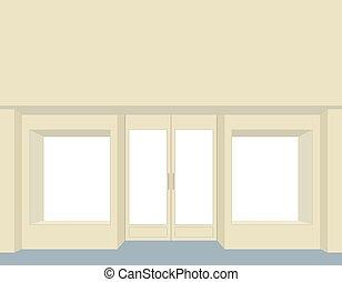 storefront., windows., 空, ファサド, 前部, 店, グループ, きれいにしなさい, design.