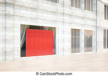 Storefront with a blank red banner, 3D Rendering