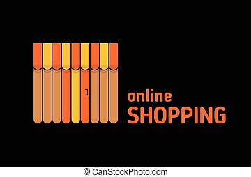 Storefront with awning icon. Online shopping concept