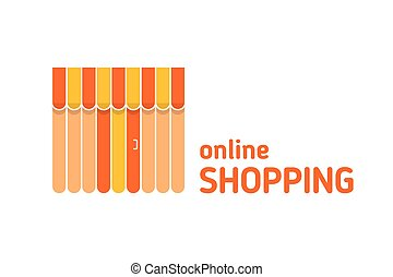 Storefront with awning icon. Online shopping - Storefront...