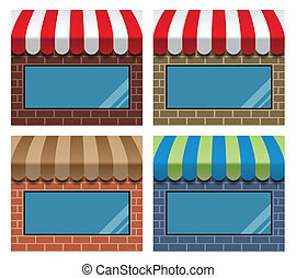 storefront with awning - set of storefronts with awnings and...