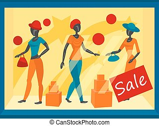 Storefront with mannequins vector illustration