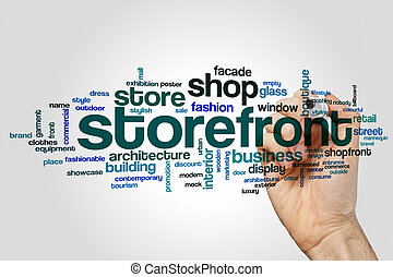 storefront, woord, wolk