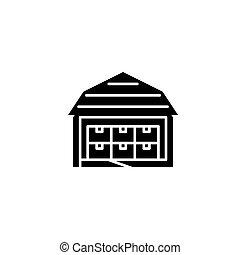 Storehouse black icon concept. Storehouse flat vector symbol, sign, illustration.