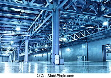 Empty storehouse toned in the blue color