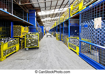 Storehouse - Interior of big storehouse in metal factory