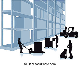 storehouse with workers and forklift