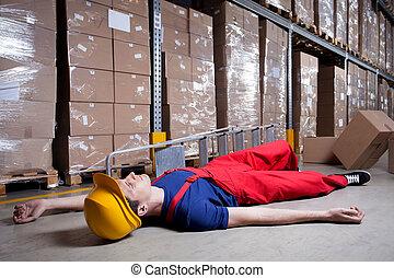 storekeeper, após, acidente, ligado, um, escada