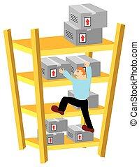 Storekeeper Climbing Warehouse Shelves