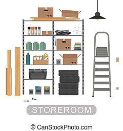 Storeroom with metal storage. Vector banner of garage or storeroom in flat style.