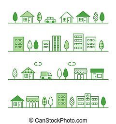 stores and houses on a street, vector file