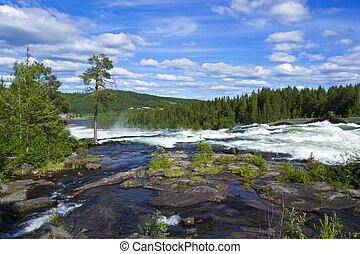 Storforsen in Swedish Lapland, Scandinavia, is a great whitewater and waterfall. It is very popular and one of Sweden?s most visited places each year.