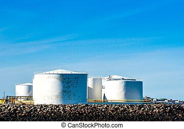 Storgae silos by the ocean