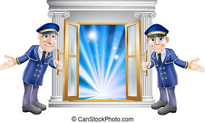 storgubbe, dörr, hänrycka, portierer