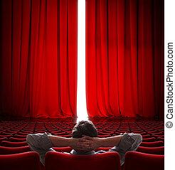 storgubbe, sittande, framme av, lätt, öppna, film teater, röd ridå, 3, illustration