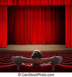 storgubbe, sittande, in, film teater, 3, illustration