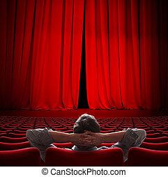 storgubbe, sittande, in, film teater, röd ridå, 3, illustration