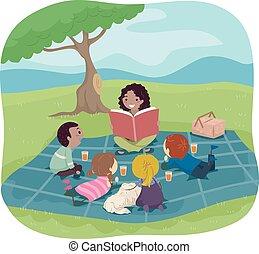 storia, bambini, stickman, libro, picnic, ascoltare