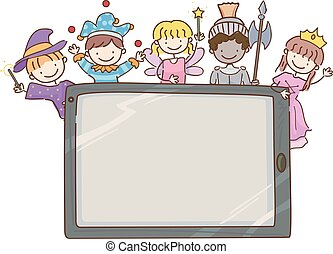storia, bambini, stickman, tavoletta, carattere, illustrazione