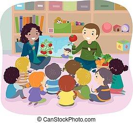 storia, bambini, stickman, verdura, illustrazione