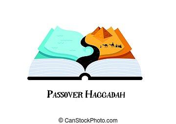 storia, ebrei, astratto, illustrazione, egypt., passover, vettore, disegno, haggadah, libro, fuori