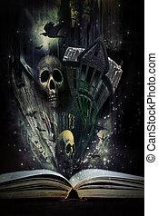 storia, halloween, vivo, libro, storie, venuta, aperto