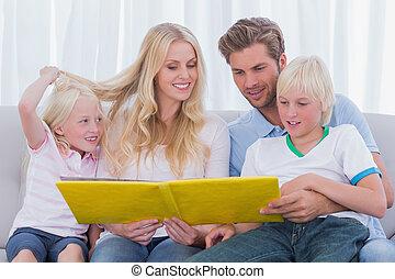 storia, lettura, famiglia, insieme