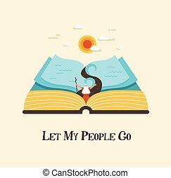 storia, mozes, persone, ordinamento, astratto, book., egypt., passover, vettore, permettere, illustrazione, andare, haggadah, mio, fuori