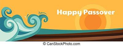 storia, persone, ordinamento, passover., scomposizione, egypt., waves., ebreo, permettere, mar rosso, andare, moses, vacanza, mio, paesaggio, fuori