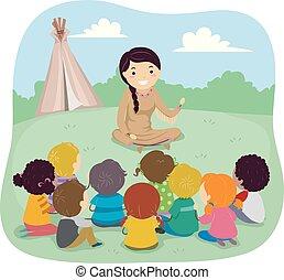 storia, stickman, americano, nativo, bambini, illustrazione