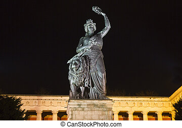 storico, baviera, statua, in, monaco, notte