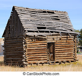 storico, cabina, in, utah, città