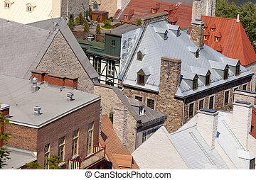 storico, costruzione pietra, tetti, città quebec, canada