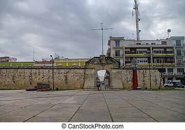 storico, fortificato, città, di, campeche, -, unesco, mondo, eredità, luogo., il, oceano, cancello