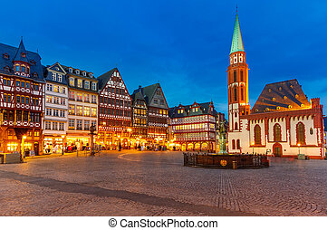 storico, francoforte, centro, notte