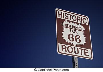 storico, indirizzi 66, in, messico nuovo, segno strada, e, disertare paesaggio, con, blu, sky., tale, bello, natura, scenario, lattina, essere, fondare, durante, nuovo, mexico.